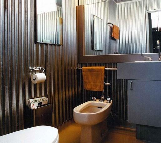 Corrugated bathroom corrugated metal for Corrugated iron bathroom ideas