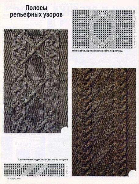 Вязание крупные ромбы спицами и жгуты красивые переплеты 34