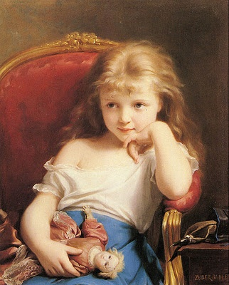 Fritz zuber buhler 1822 1896 young girl holding a doll