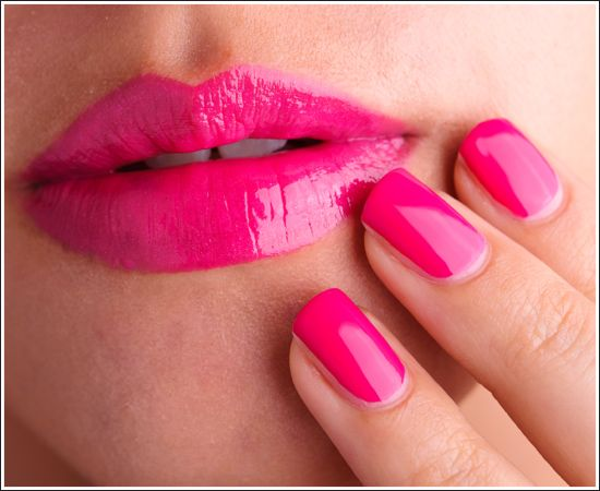 MAC Girl About Town Lipglass over Lipstick; Nail Lacquer