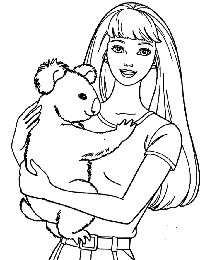 Barbie Doll And Pet Coloring Pages