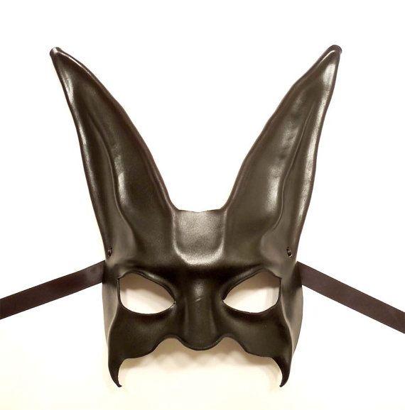 rabbit leather mask in black by teonova on etsy 89 00
