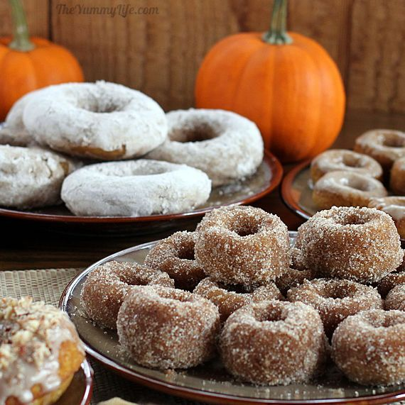Donuts Coated 3 Ways ~ Maple Spice Glazed, Powdered Sugar and Spice ...