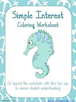 simple interest coloring worksheet. Black Bedroom Furniture Sets. Home Design Ideas