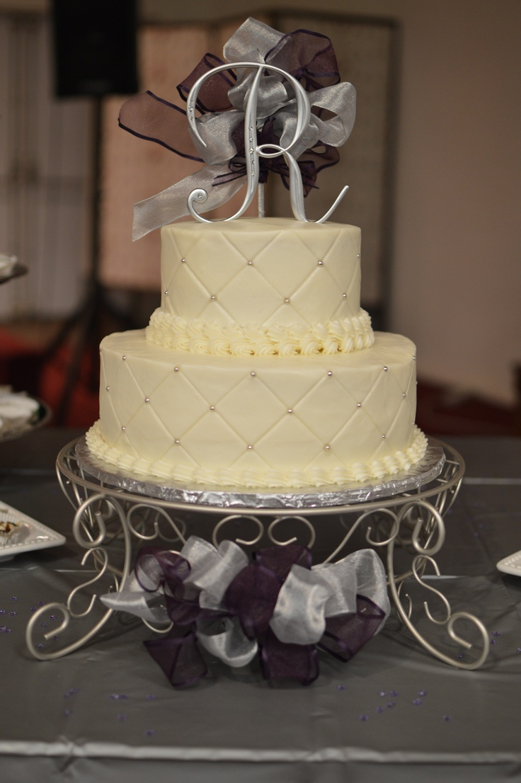 Silver And Purple Wedding Cake