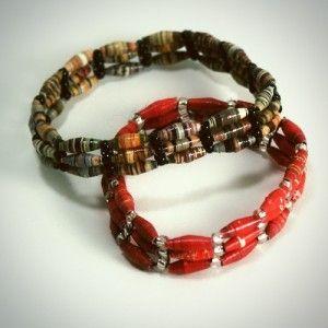 Woven Paper Bead Bracelets
