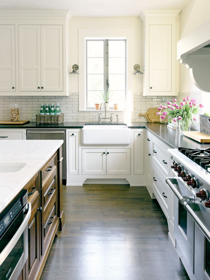 white kitchen. subway tiles & farm sink. For the Home Pinterest