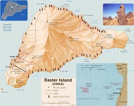 Bản đồ xác định địa điểm của đảo Phục Sinh