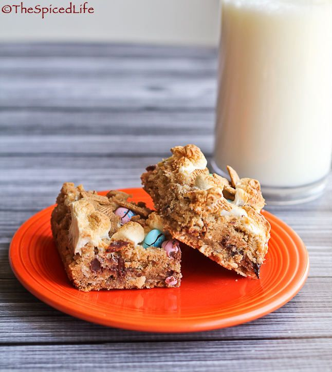 Mores Bars with M&Ms and Graham Cereal | The Spiced Life