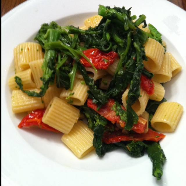 Last night's dinner! Pasta with broccoli rabe and sun dried tomatoes