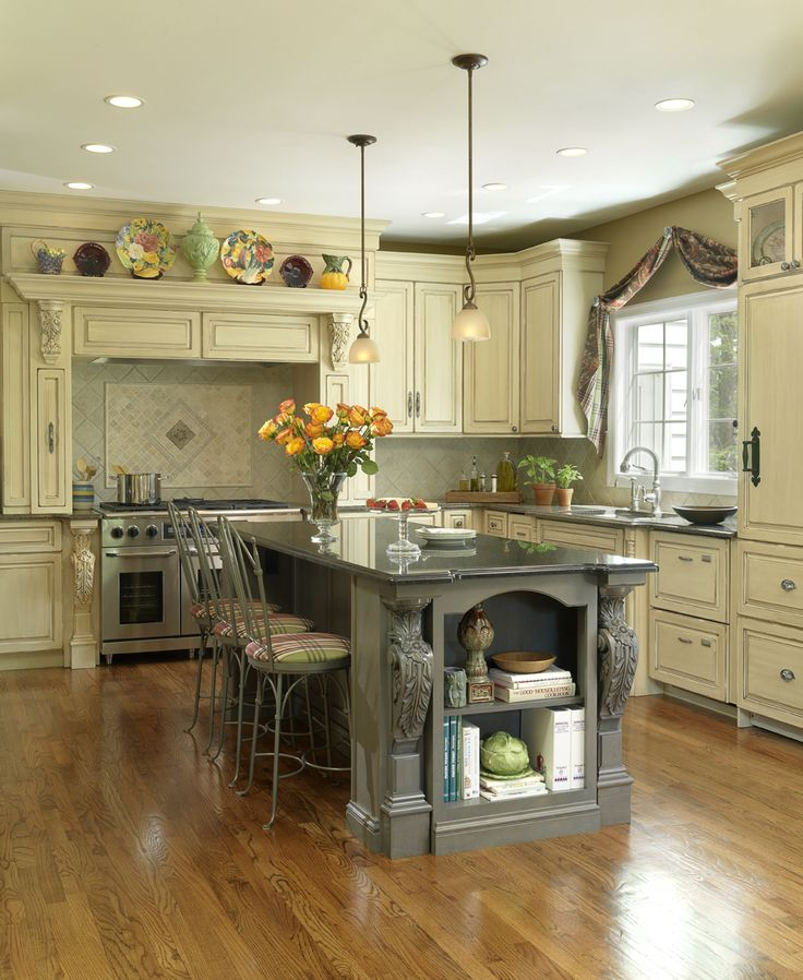 Painted Island With Light Cabinets Beautiful Kitchens Pinterest
