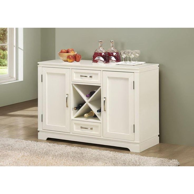 White Buffet Table : Pearl White Buffet With Wine Bottle Storage  Overstock™ Shopping ...