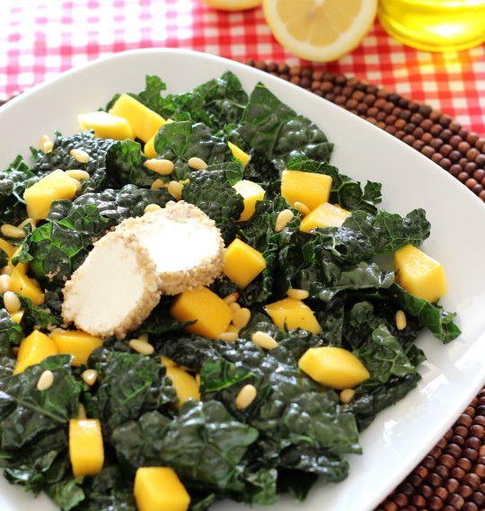 Black Kale & Mango Salad with Walnut Crusted Goat Cheese | Recipe