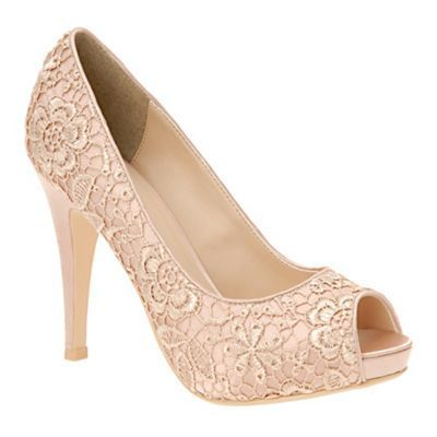 light pink lace covered court shoes wedding bridesmaid