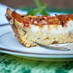 Heirloom tomato tart with polenta crust, filled with smooth and ...