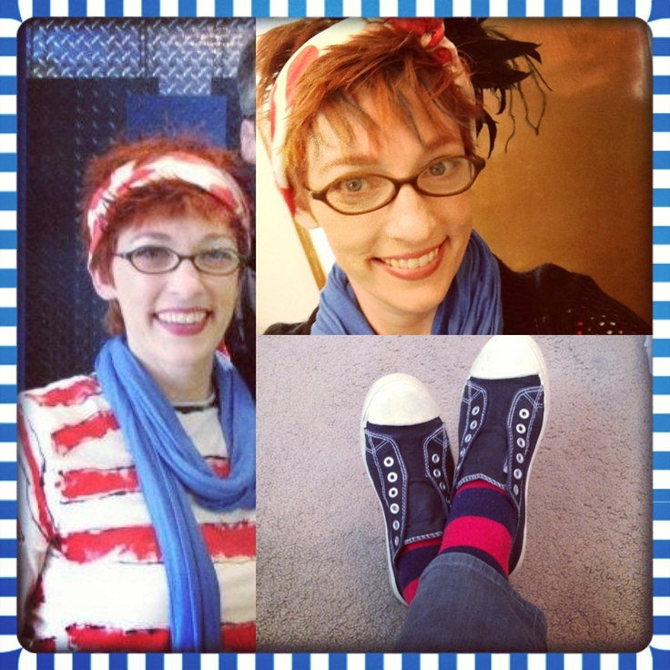 Dressed for Dr. Seuss' birthday...a pic from last year & again today! I did the striped shirt on my own, the spotted scarf & feathers set the tone! Blue on the neck & in the hair really give that Seussy flair!