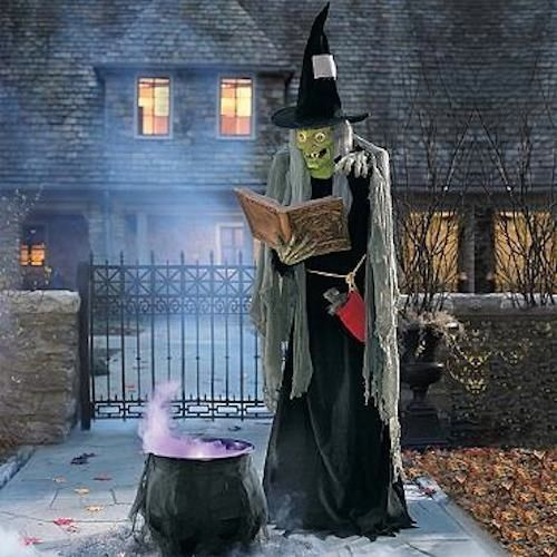 Witch halloween spell casting animated figure prop decor for Animated halloween decoration