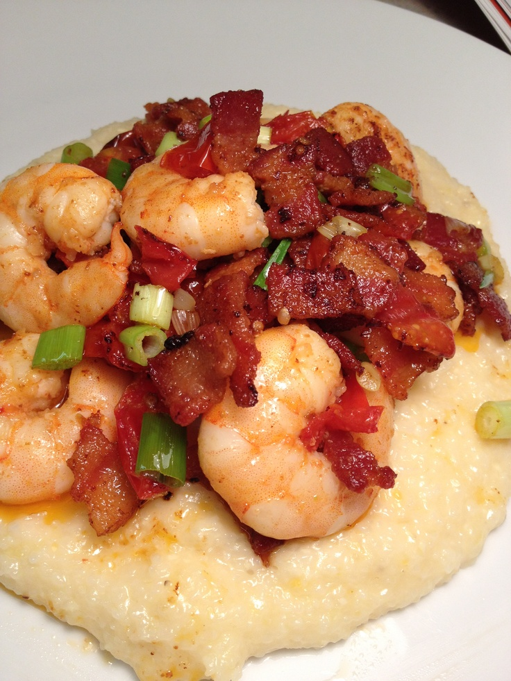 Cheesy grits with shrimp and bacon... | Bad for me recipes | Pinterest