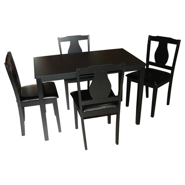 kaylee 5 piece dining set in black gallery