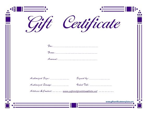 purple certificate template