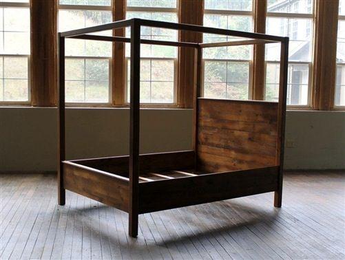 Rustic Barn Wood Queen Canopy Bed Kid Stuff Pinterest