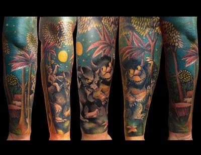 """Where the Wild Things Are"" sleeve. By Luke LoPorto, Timmy Tattoo, Huntington, NY. www.Loportoart.com"