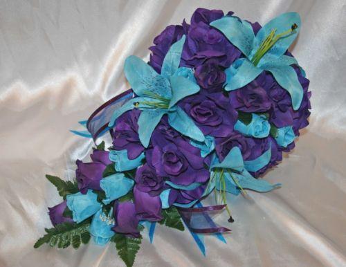 Purple Turquoise Wedding Bridal Bouquet Package Silk Wedding Flowers 21 Pc