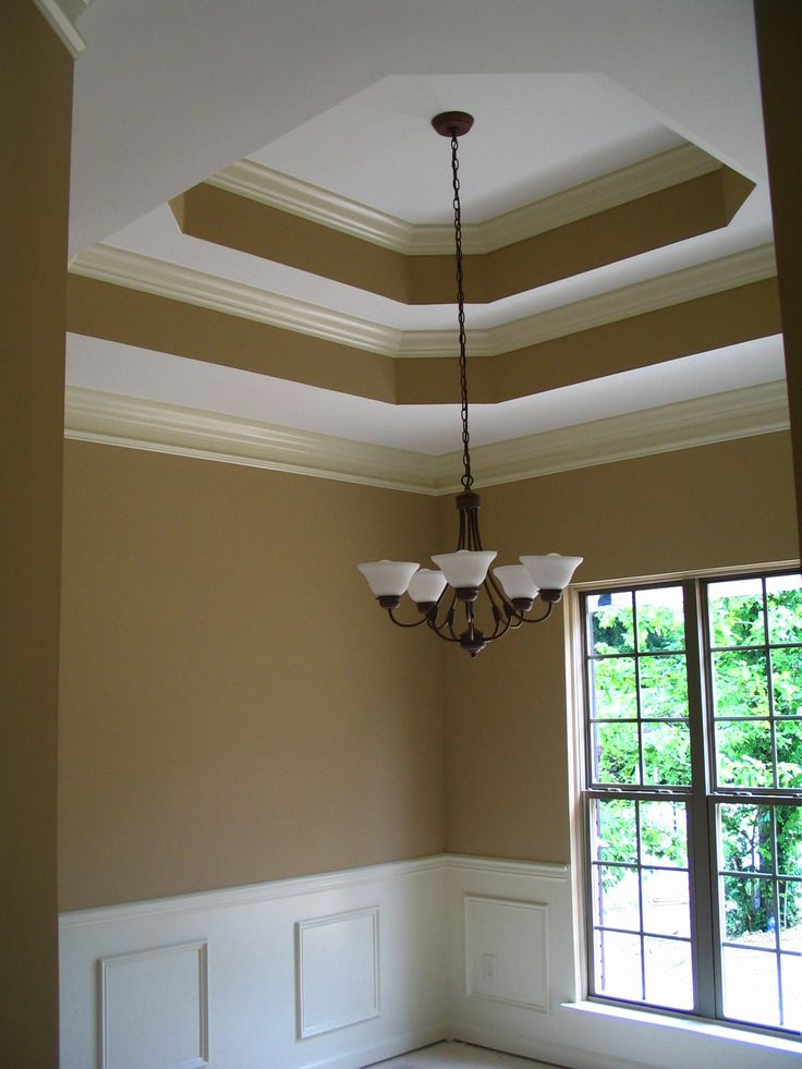 Double tray ceiling with crown moulding paint pinterest for Tray ceiling trim ideas