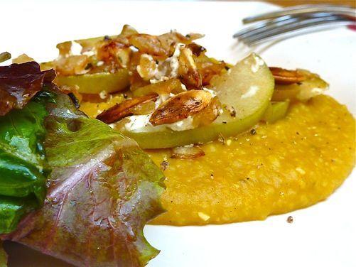 Creamy Pumpkin Polenta with Apple and Feta Crumble | Recipe