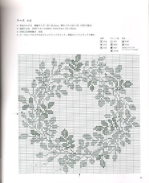 Венок из шиповника вышивка схема 62