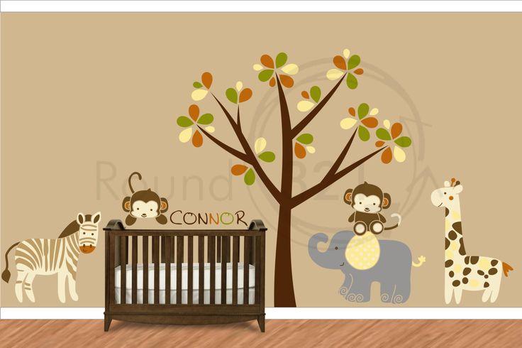 Infant bedroom giraffe elephant zebra monkey wall decal complete by