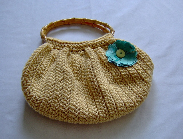 Cute Crochet Bag : Yellow wide-bottom crocheted purse with fabric flower (via lmferg1s ...