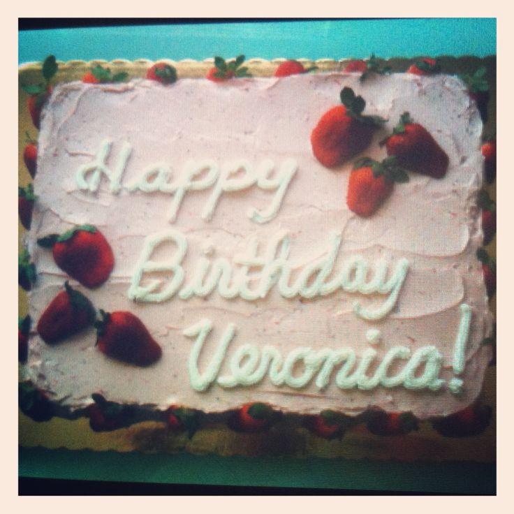 Buttercream Strawberry birthday day cake | Sheet Cakes | Pinterest
