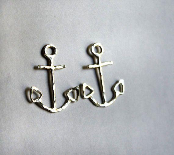 Oversized Sterling Silver Anchor Studs by RachelPfefferDesigns