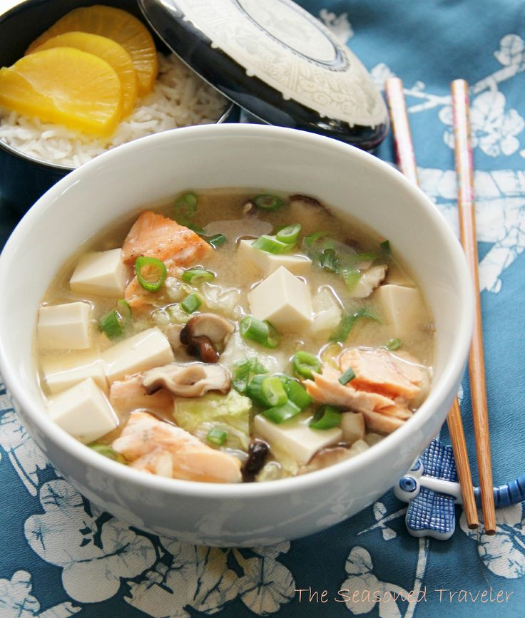 Simple Miso Soup with Salmon, Tofu, Mushrooms, and Napa Cabbage