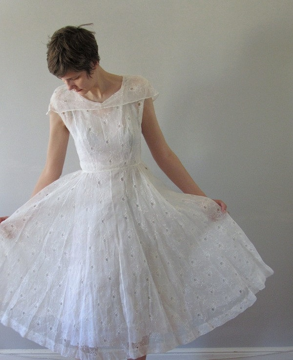40s 50s white dress vintage wedding dress sheer eyelet for Vintage 50s wedding dresses