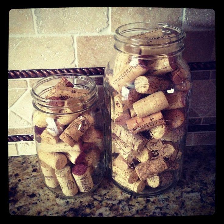 Mason jars wine corks dream home decor pinterest for Kitchen jar decoration