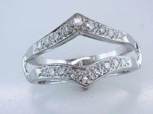 Diamond 14K White Gold Engagement Wedding Ring Wrap Jacket Guard