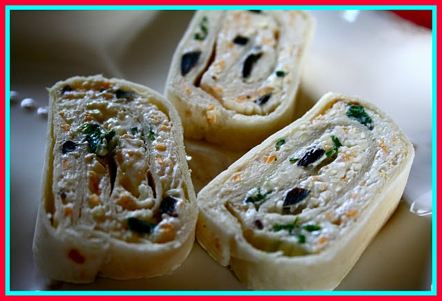Tortilla roll-ups: I add chopped up chipped beef or turkey to mine.