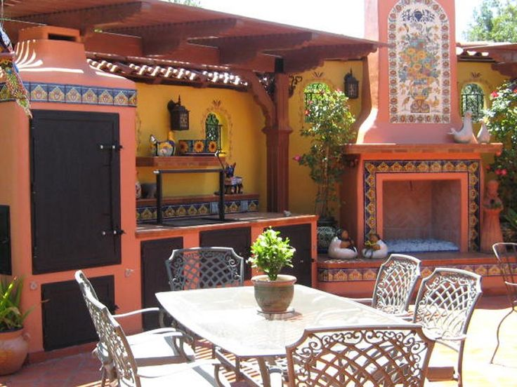 In love with this backyard! - Mexican Tile And Mural Used Around A Fireplace