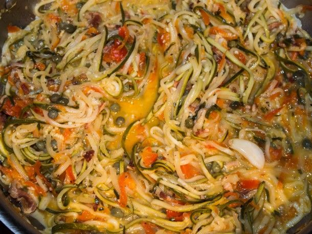 Zuccaghetti - zucchini, capsicum, lemon, capers, garlic - paleo ...