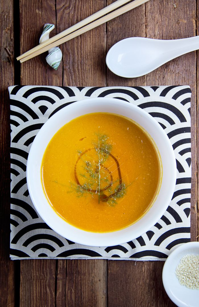 pared-down carrot soup with red miso, ginger, and sesame
