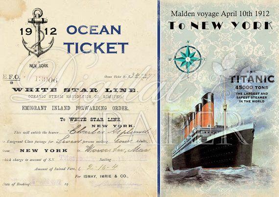 ... - Ocean Ticket - Large Image - digital collage sheet - Printa