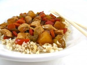 Super Skinny Sweet and Sour Chicken! It's sensational and so much healthier than take-out since using chicken breasts chunks, adding more vegetables and pineapple plus serving over brown rice. The skinny for each serving, 260 calories, 4 grams of fat and 7 Weight Watchers POINTS PLUS.