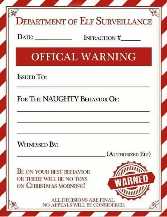 Naughty list issue certificate | Christmas | Pinterest
