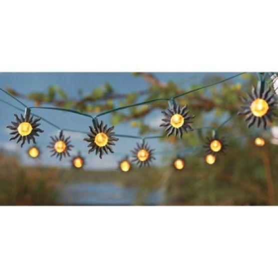 Solar Metal String Lights : Outdoor Lighting Patio Porch Garden Solar Metal Sun String Lights (20?