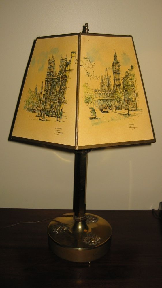 Vintage Brass Column Table Lamp W Artemis Studios Jan