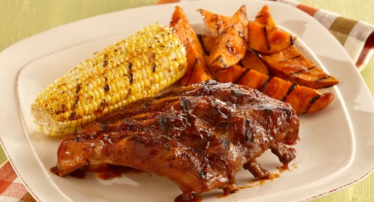 Brown Sugar Bourbon Ribs with Grilled Sweet Potatoes : Brush Grill ...