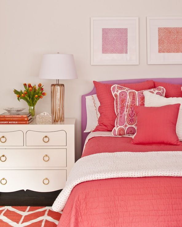 Phoebe Howard: Beautiful pink and purple big girl's room in shades of coral pink and orange. Bungalow 5 ...
