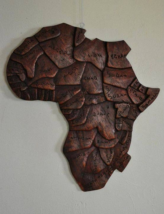 Hand Carved Wooden Map Of Africa Plaque